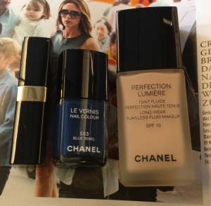 Chanel Coco Baume Lip Balm, Chanel Blue Rebel Nail Vernis and Chanel Perfection Lumiere Liquid Foundation in 03 Beige