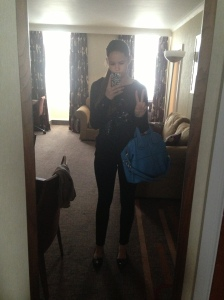 Casual Friday: Sweater(French Connection), Black Pants(Adriano Goldschmied), Nightingale Bag(Givenchy)