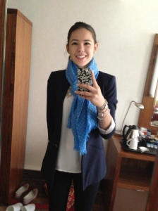 Top and Blazer(Zara), Blue Scarf(Eric Bompard), Navy Pants(Zara)