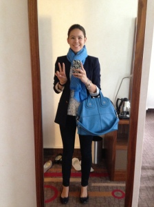 Lace Top(Intermix), Blue Scarf(Eric Bompard), Navy Blazer(Zara), Navy Pants(Adriano Goldschmied), Nightingale Bag(Givenchy)
