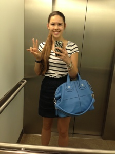 Striped Top(LOFT), Navy Skirt(J Crew), Nightingale Bag(Givenchy)